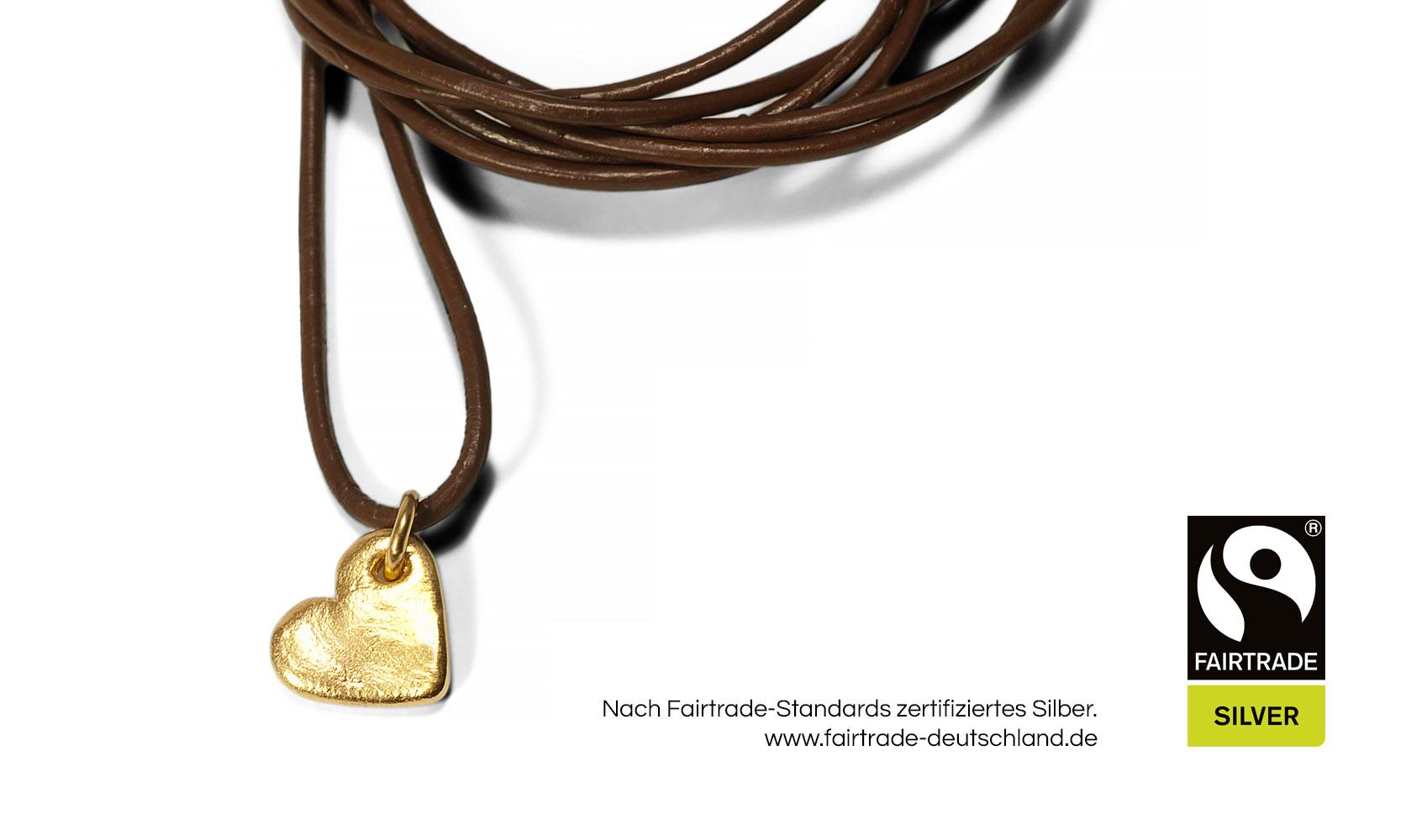 """GOLDAFFAIRS - Kettenanhänger """"heart"""" aus FAIRTRADE Silber, gelbgoldplattiert"""