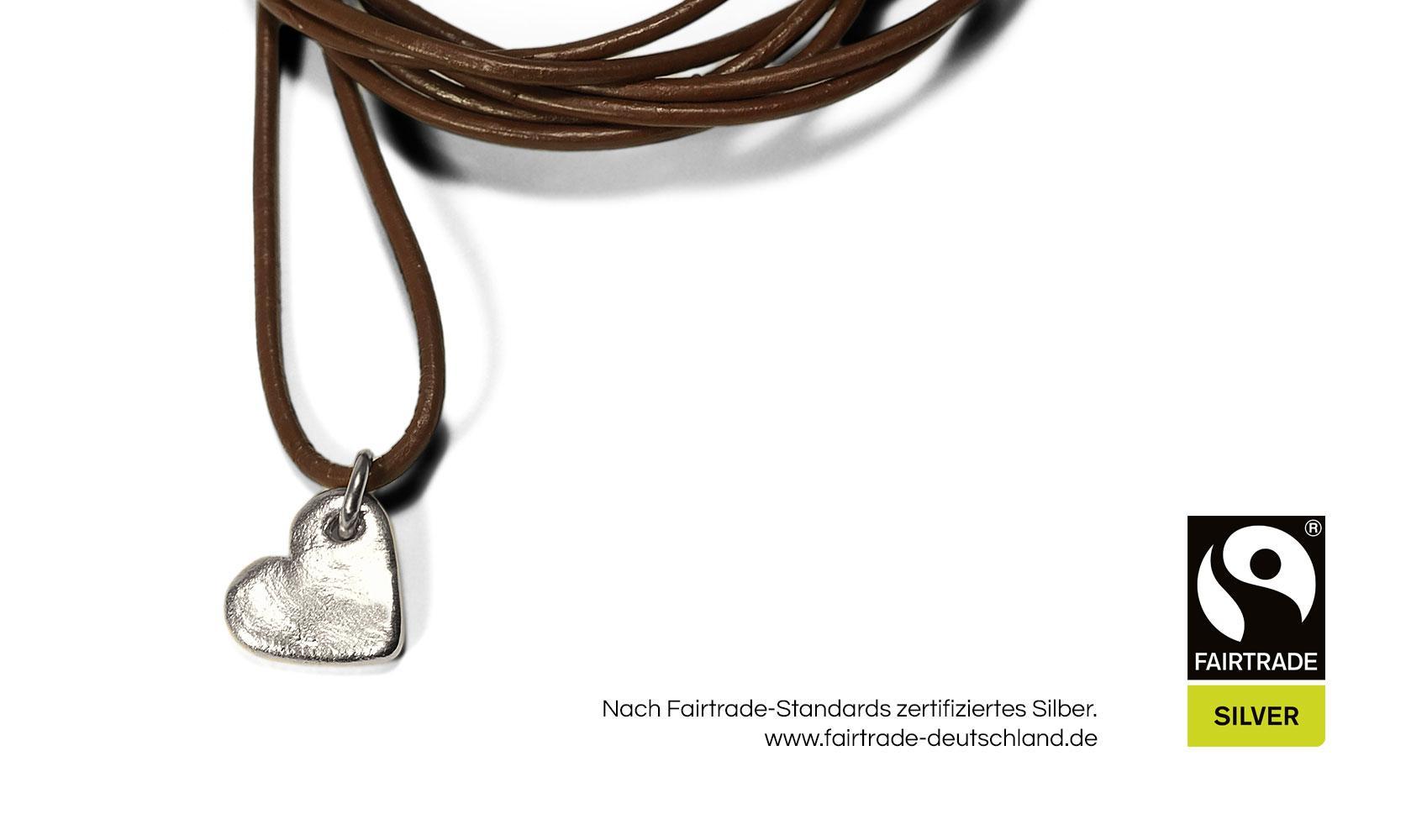 """GOLDAFFAIRS - Kettenanhänger """"heart"""" aus FAIRTRADE Silber, rhodiniert"""