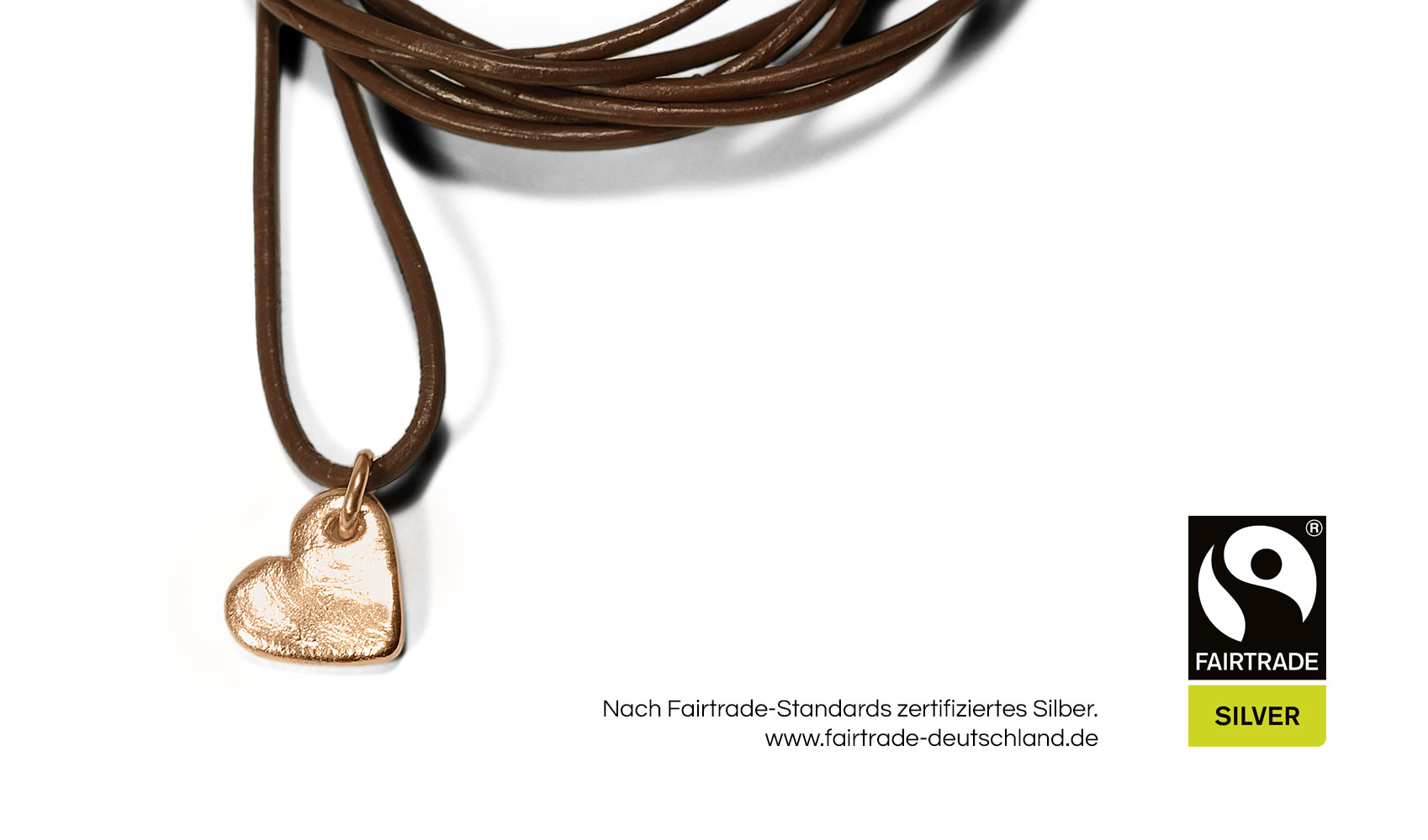 """GOLDAFFAIRS - Kettenanhaenger """"heart"""" aus FAIRTRADE Silber, rosegoldplattiert"""