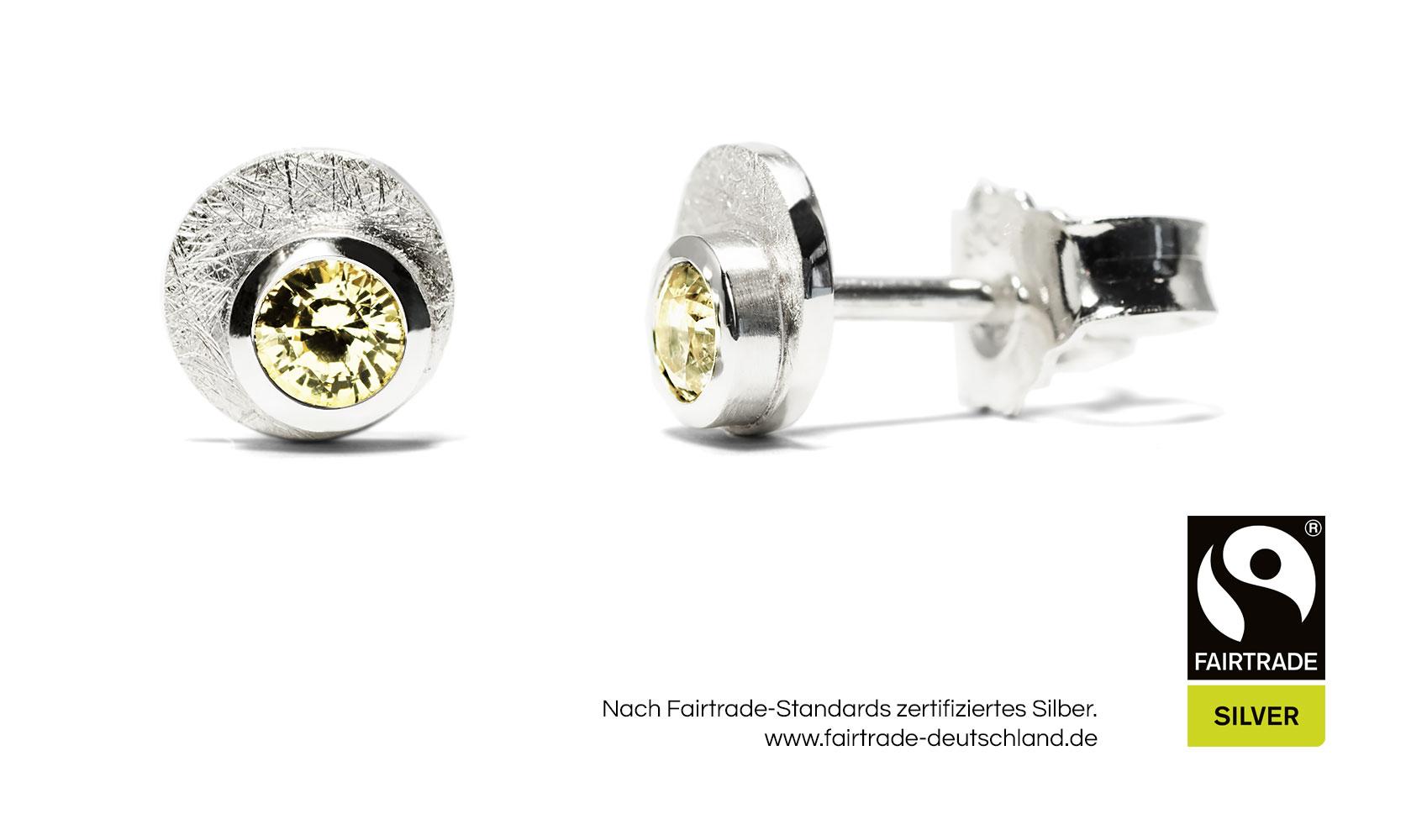 GOLDAFFAIRS - Ohrstecker aus FAIRTRADE Silber mit gelbe Saphiren