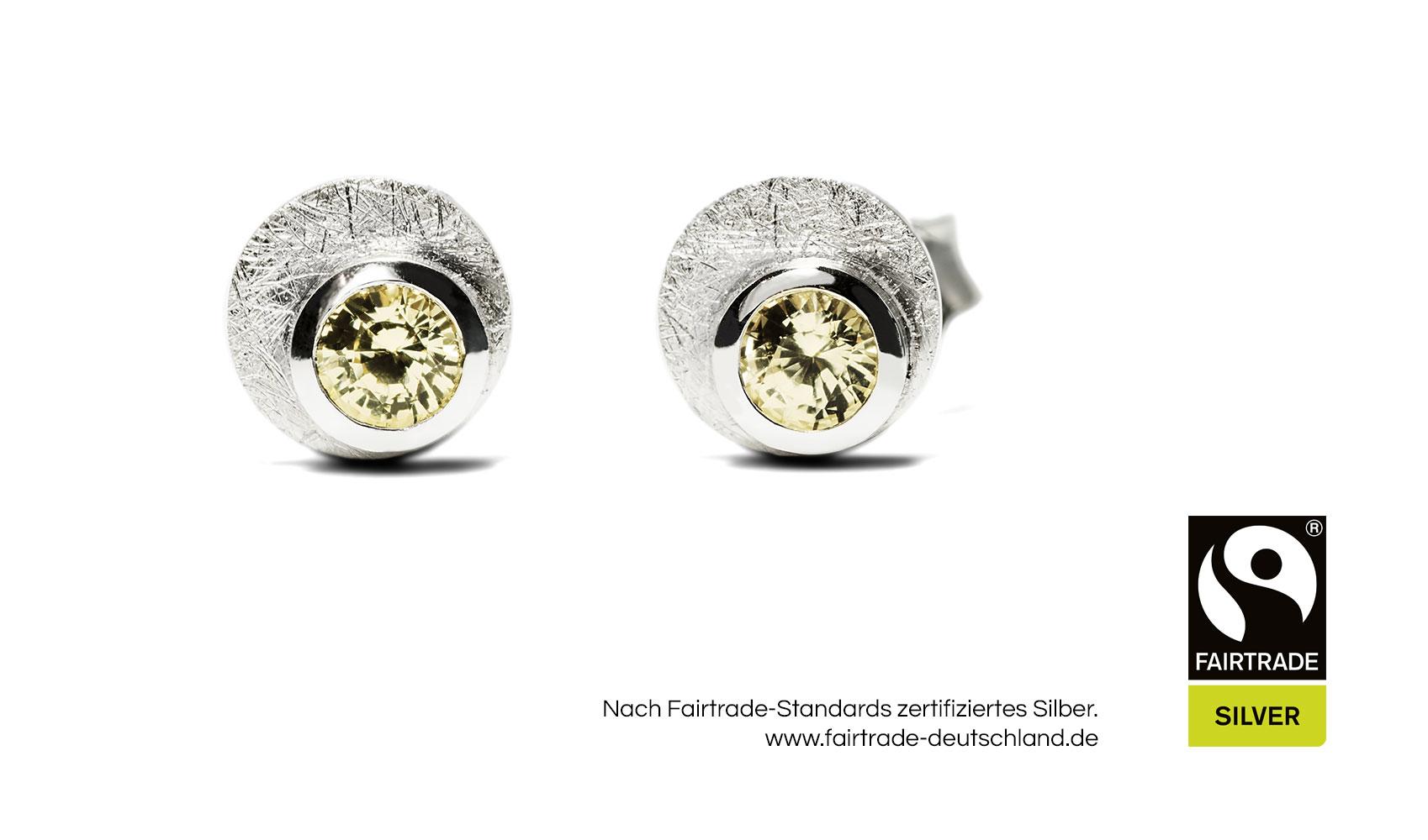 GOLDAFFAIRS - Ohrstecker aus FAIRTRADE Silber mit gelben Saphiren