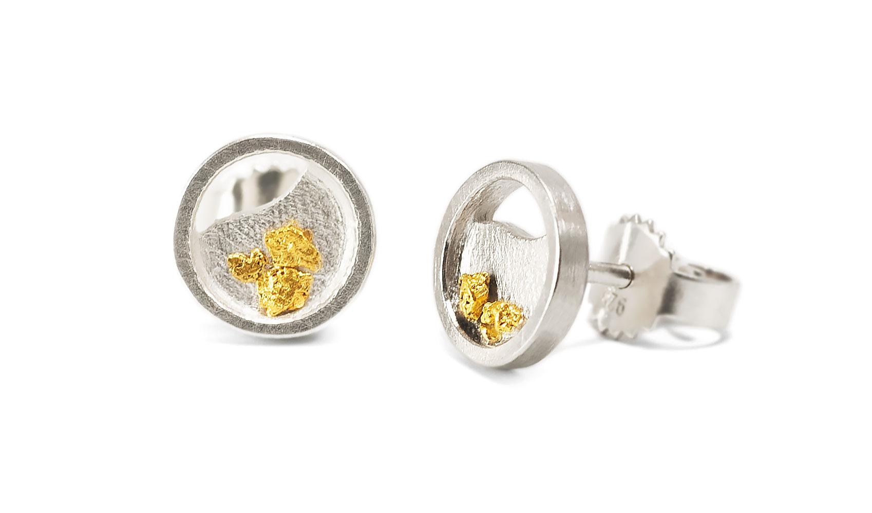 """Ohrstecker """"Goldgrund"""" aus fairem Silber und ökofairem Waschgold"""