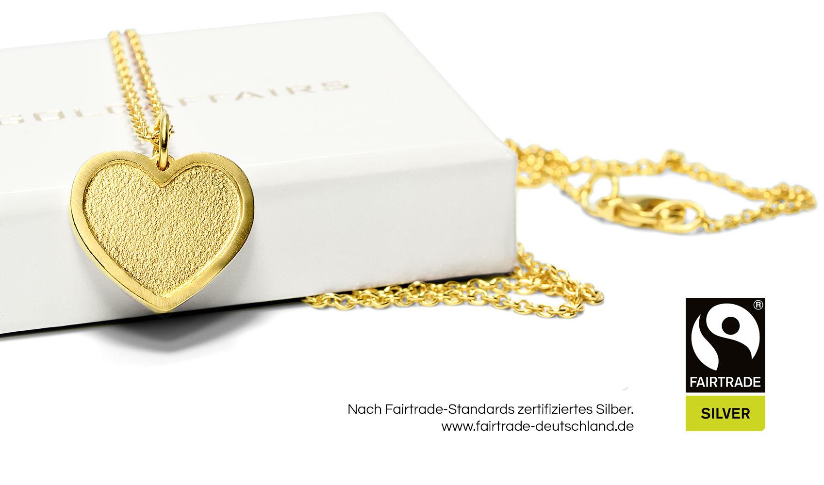 """GOLDAFFAIRS - FAIRTRADE Kette - Anhänger """"love"""" aus FAIRTRADE Silber, gelbgoldplattiert"""